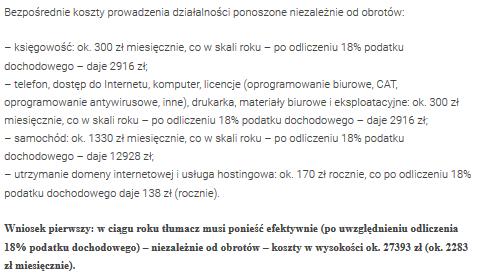 Fragment artykułu na temat kosztów prowadzenia działalności przez tłumacza